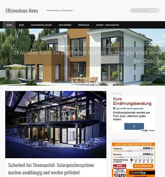 Neues zum Effizienzhaus findet man seit 2008 auf Effizienzhaus-News.de